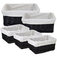 Modish And Useful 5-Piece Willow Utility Basket By Entrada