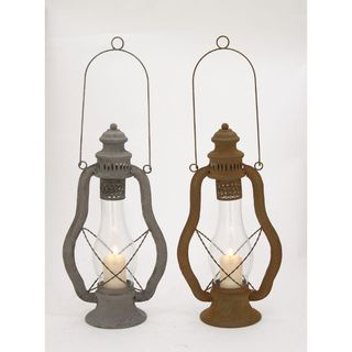 Captivating Metal Glass Lantern 2 Assorted