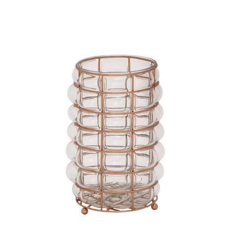 Copper Grove Fossli Charming Glass Metal Lantern Copper