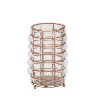 Charming Glass Metal Lantern Copper