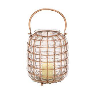 Unique Glass Metal Lantern Copper