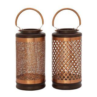 Beautiful Metal Wood Copper Lantern 2 Assorted