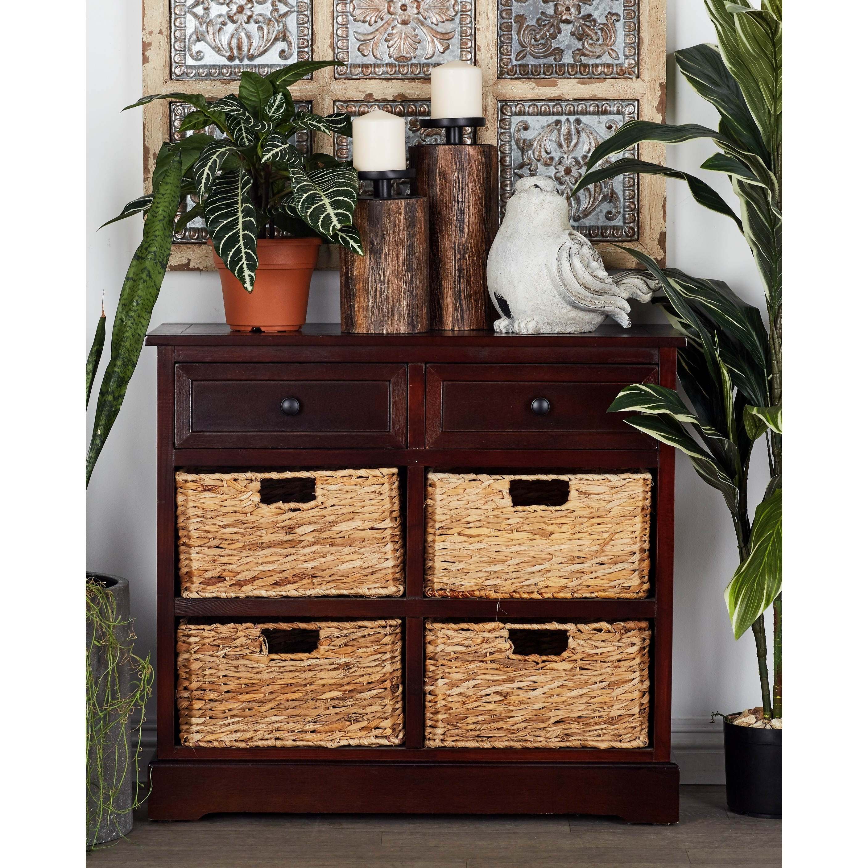 Traditional 28 x 30 Inch Brown Six-Drawer Wooden Chest by Studio 350 (Basket)
