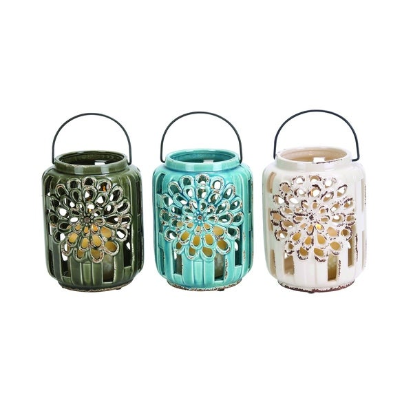Beautifully Carved Ceramic Lantern 3 Assorted