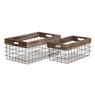 Classy Styled Metal Wood Basket (Set Of 2)