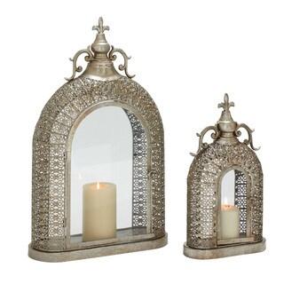 (Set Of 2) Exceptionally Designed Metal Glass Lanterns
