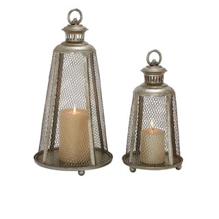 (Set Of 2) Exceptionally Designed Metal Candle Lanterns
