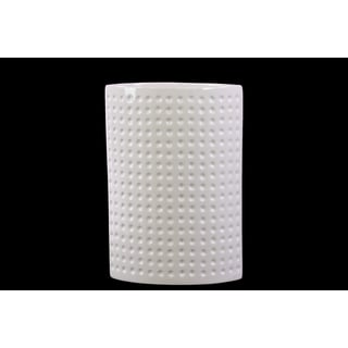Cylindrical Shaped Ceramic Vase With Hammered Design In White (Large)