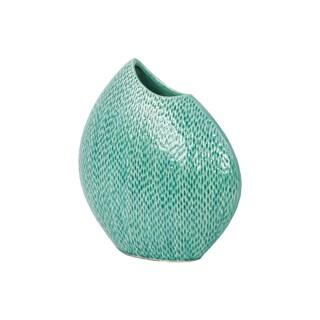 Unique Stoneware Vase With Hammered Looks & Convex Design