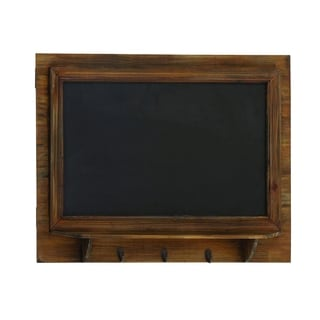 Pine Wood Blackboard Wall Shelf With Three Metal Hooks