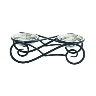 Black Metal Frame With Steel Bowls Pet Feeder
