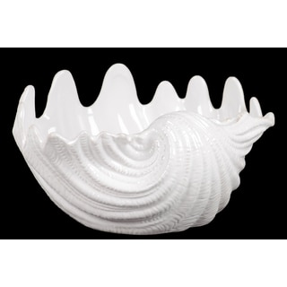Beautiful Bowl Shape Ceramic Seashell Figurine With Curve Pattern In White