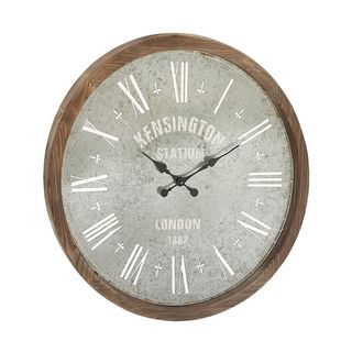 Charming Metal Wood Wall Clock