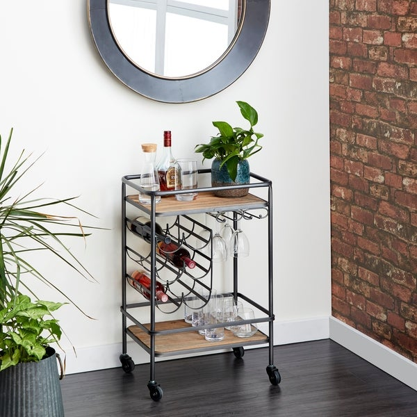Industrial 30 Inch Wood and Iron 6-Bottle Wine Rack Cart by Studio 350