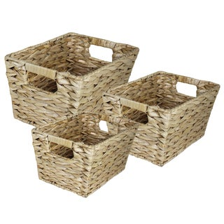 Creatively Wave 3-Piece Rectangle Water Hyancinth Basket