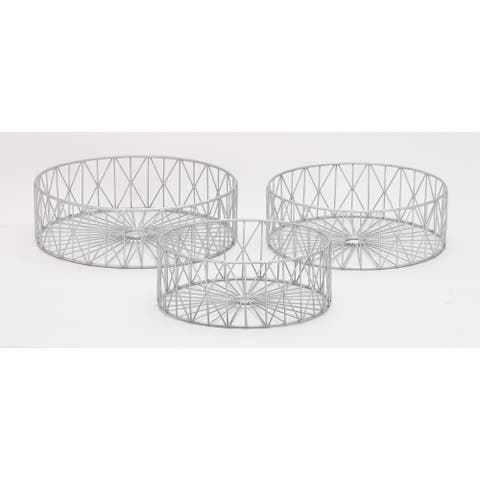 Silver Orchid Olivia Metal Silver Baskets (Set of 3)