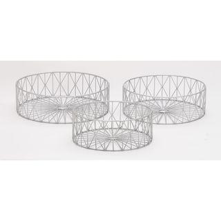 Designer Metal Silver Baskets (Set Of 3)