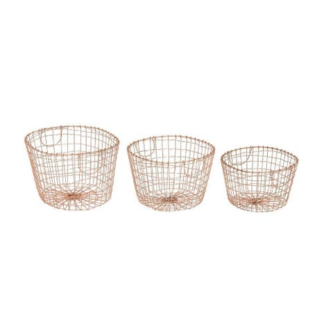 Silver Orchid Mackaill Metal Wire Baskets (Set of 3)
