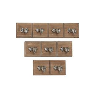 Wood Metal Wall Hook (Set Of 3)