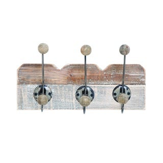 Simple Wood Wall Hook Dual Toned Finish In Beige And Brown