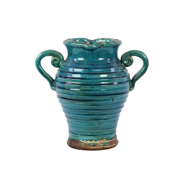 Shop Antique Ceramic Tuscan Vase In Turquoise With Beautiful Ring Pattern