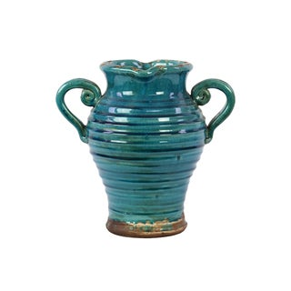 Antique Ceramic Tuscan Vase In Turquoise With Beautiful Ring Pattern