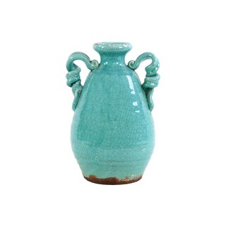 Traditional Double Ear With Curled Design Tuscan Ceramic Vase In Turquoise