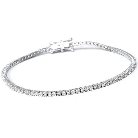 Eco Friendly 18k White Gold 1ct TDW Lab-Grown Diamond Tennis Bracelet