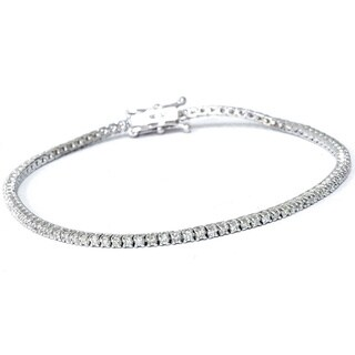 Eco Friendly 18k White Gold 1ct TDW Lab-Grown Diamond Tennis Bracelet