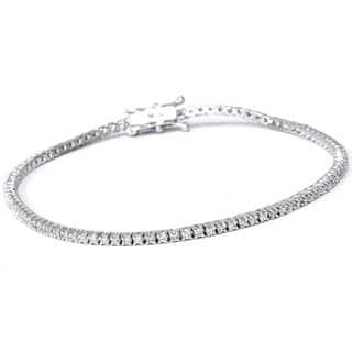 Eco Friendly 18k White Gold 1ct Tdw Lab Grown Diamond Tennis Bracelet