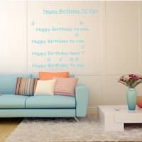 Happy Birthday to you Wall Art Sticker Decal Blue
