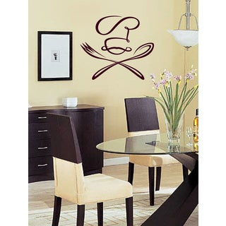 Spoon fork and cook Wall Art Sticker Decal Red