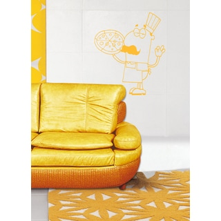 Funny chef with pizza Wall Art Sticker Decal Yellow