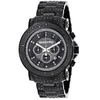 Luxurman Men's Black Oversized Iced Out Diamond 2-ct Fully Paved Watch