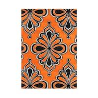 Alliyah Contemporary Arabesque Orange/Black Wool Moroccan Motif Rug (5' x 8')