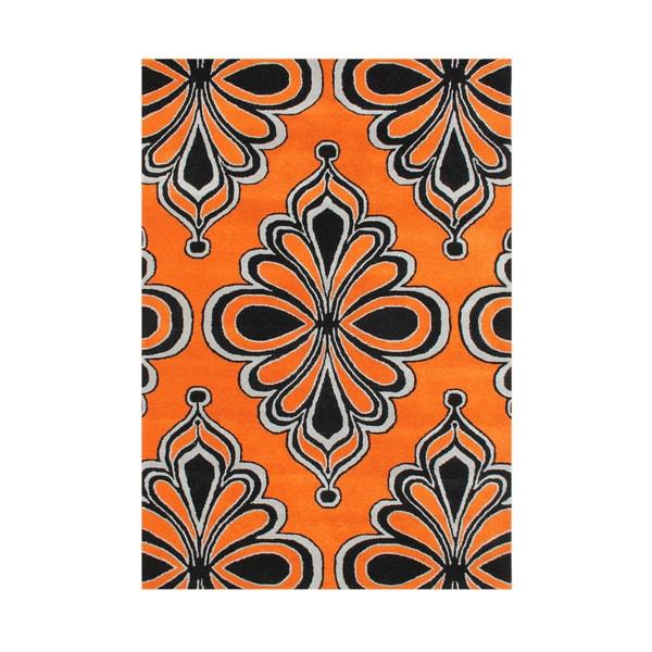 Alliyah Contemporary Arabesque Orange Black Wool Moroccan