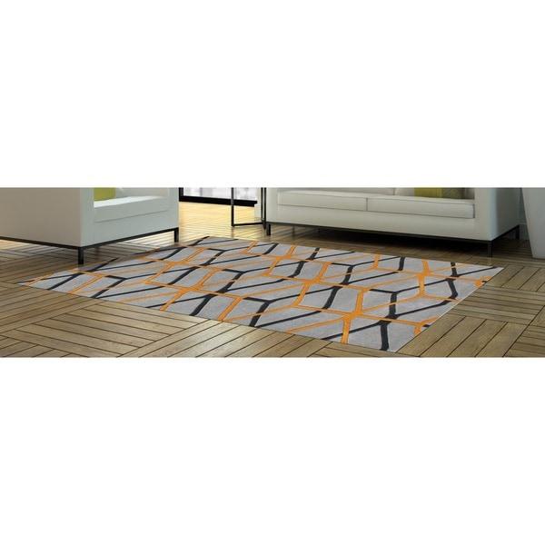 Look To The Alliyah' Fashion Forward Design Geometric Cubes Wool Rug - 8' x 10'