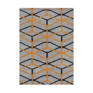'Look To The Alliyah' Fashion Forward Design Geometric Cubes Wool Rug (8x10)