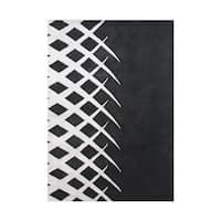 The Alliyah Work in Progress Vanishing Diamond Trellis Design Black/White Wool Abstract Area Rug - 5' x 8'
