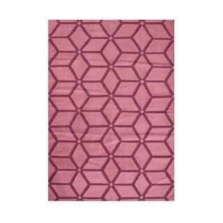 Alliyah Brilliant Camellia Rose Optical Illusion Geometric Wool Rug 8x10