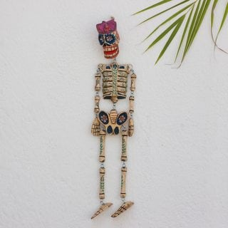 Pinewood 'Dancing Floral Skeleton' Wall Sculpture (Guatemala)