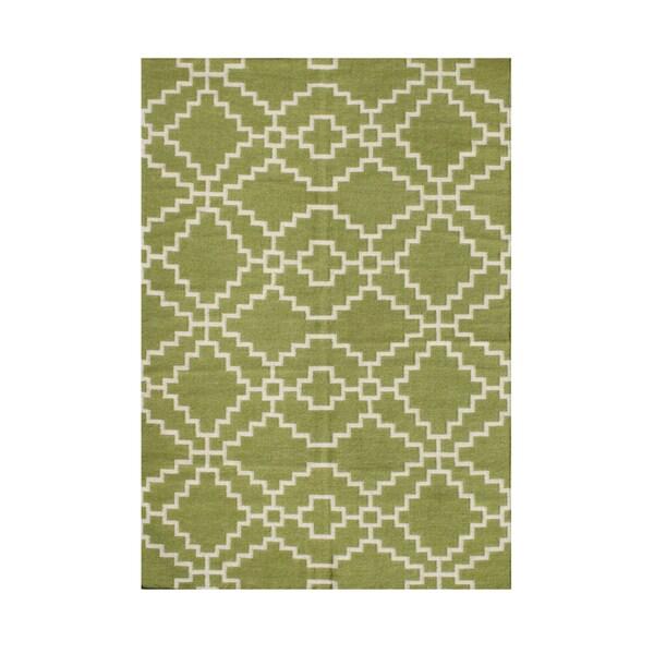 Alliyah Handmade New Zealand Blend Wool Casual Purple Geometric Rug ( 9'x12') - 9' x 12'