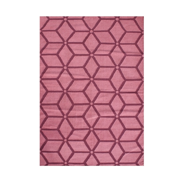 Look to the Alliyah Brilliant Camellia Rose Optical Illusion Geometric Wool Rug - 9' x 12'
