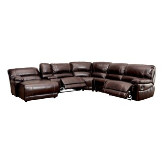 Furniture of America Merson L-Shaped Leatherette Reclining Sectional with Storage Console