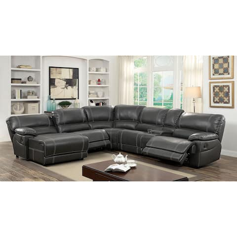 Furniture of America Nosh Contemporary Faux Leather 6-piece Sectional Sofas