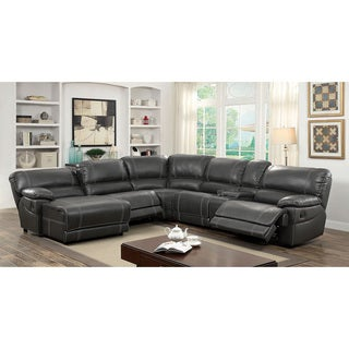 Furniture of America Merson L-Shaped Leatherette Reclining Sectional with Storage Console|  sc 1 st  Overstock.com : grey sectional with chaise - Sectionals, Sofas & Couches