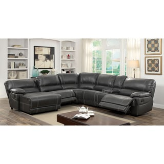 Furniture Of America Merson L Shaped Leatherette Reclining Sectional With  Storage Console