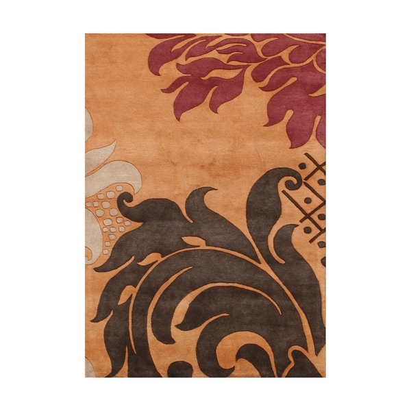 The Alliyah Jacobean Cosmopolitan Whimsical Curlicues Elegant Rust Floral Wool Rug - 8x10