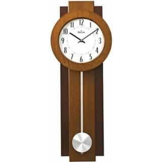 Bulova C3383 Avent Wooden Two-tone Walnut and Mahogany Pendulum Wall Clock