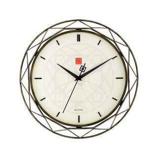 Bulova Frank Lloyd Wright Luxfer Prism C4834 Black and Cream Metal Quartz 14-inch Wall Clock